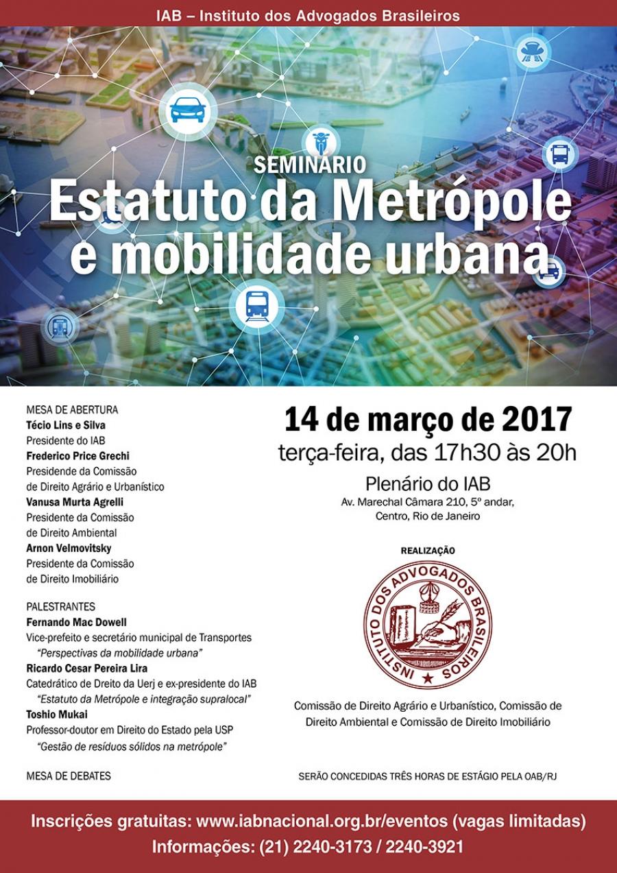 Seminário Estatuto da Metrópole e mobilidade urbana
